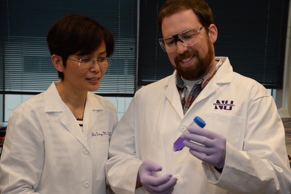 deux scientifiques en sarrau blanc observant un échantillon